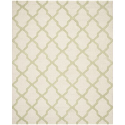 Gillam Hand-Tufted Ivory / Light Green Area Rug Rug Size: Rectangle 26 x 4