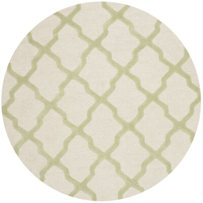 Gillam Hand-Tufted Ivory / Light Green Area Rug Rug Size: Round 6