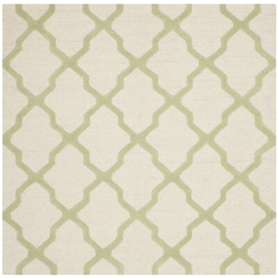Gillam Hand-Tufted Ivory / Light Green Area Rug Rug Size: Square 6