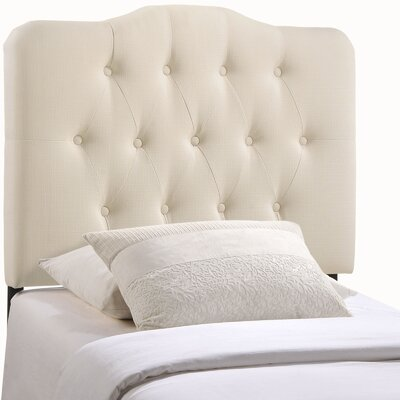 Minneapolis Arch Upholstered Panel Headboard Upholstery: Ivory, Size: King