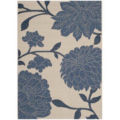 Alderman Beige / Blue Indoor / Outdoor Area Rug Rug Size: 2 x 37
