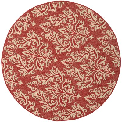 Octavius Red / Creme Indoor / Outdoor Area Rug Rug Size: Round 67