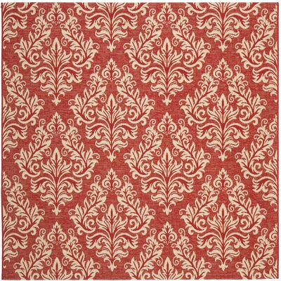 Octavius Red / Creme Indoor / Outdoor Area Rug Rug Size: Square 67