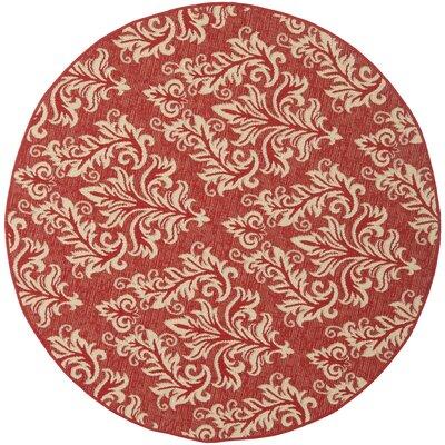 Alderman Red / Creme Indoor / Outdoor Area Rug Rug Size: Round 53