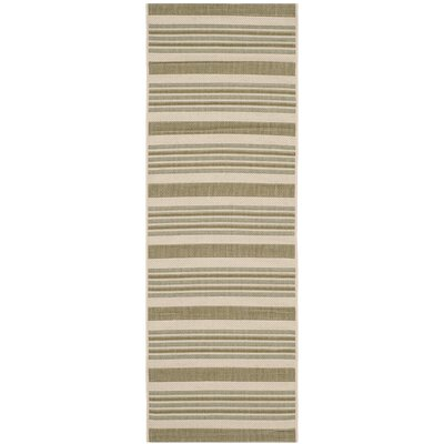 Octavius Beige / Green Indoor / Outdoor Area Rug Rug Size: Runner 23 x 67