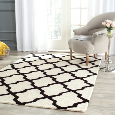 Gillam Hand-Tufted Wool Ivory/Black Area Rug Rug Size: Rectangle 6 x 9