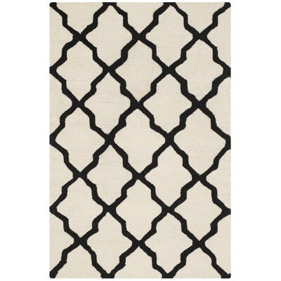 Gillam Hand-Tufted Wool Ivory/Black Area Rug Rug Size: Rectangle 4 x 6