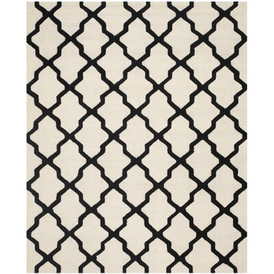 Gillam Hand-Tufted Wool Ivory/Black Area Rug Rug Size: Rectangle 8 x 10