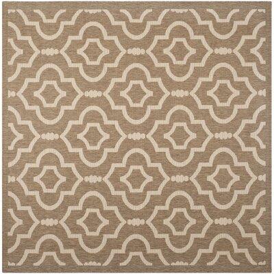 Octavius Brown/Bone Indoor/Outdoor Area Rug Rug Size: Square 710