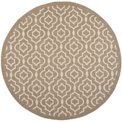 Octavius Brown/Bone Indoor/Outdoor Area Rug Rug Size: Round 710