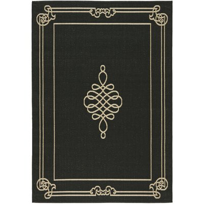 Octavius Black / Creme Indoor / Outdoor Area Rug Rug Size: Rectangle 53 x 77