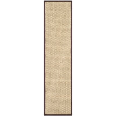 Driffield Hand-Woven Natural/Brown Area Rug Rug Size: Runner 26 x 18