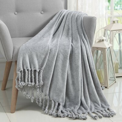 Knobend Arizona Fringe Throw Blanket Color: Gray