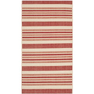 Octavius Beige / Red Indoor / Outdoor Area Rug Rug Size: Rectangle 8 x 11