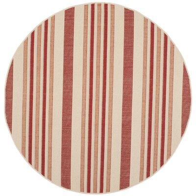 Octavius Beige / Red Indoor / Outdoor Area Rug Rug Size: Round 67