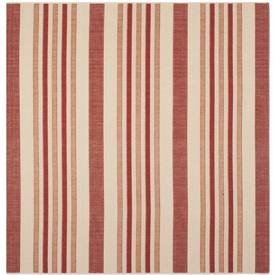 Octavius Beige / Red Indoor / Outdoor Area Rug Rug Size: Square 67