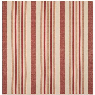 Octavius Beige / Red Indoor / Outdoor Area Rug Rug Size: Square 67