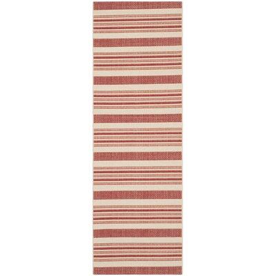 Alderman Beige / Red Indoor / Outdoor Area Rug Rug Size: Runner 27 x 5