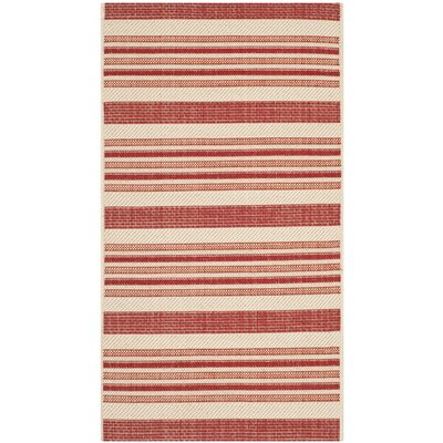 Octavius Beige / Red Indoor / Outdoor Area Rug Rug Size: Rectangle 2 x 37