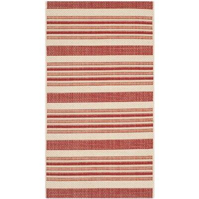 Alderman Beige / Red Indoor / Outdoor Area Rug Rug Size: 2 x 37