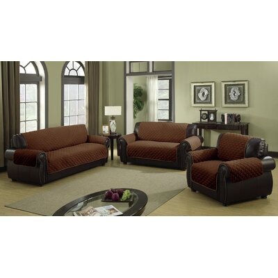 Furniture Protector Box Cushion Sofa Slipcover Size: 92 H x 75 W Loveseat, Color: Chocolate