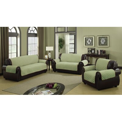 Furniture Protector Box Cushion Sofa Slipcover Size: 88 H x 70.5 W Loveseat, Color: Sage