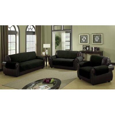 Furniture Protector Box Cushion Sofa Slipcover Size: 92 H x 75 W Loveseat, Color: Black