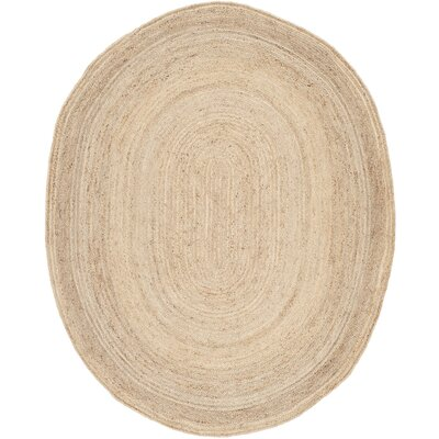 Chatham Hand-Woven Wool Light Tan Area Rug Rug Size: Oval 8 x 10