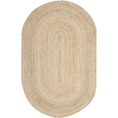 Chatham Hand-Woven Wool Light Tan Area Rug Rug Size: Oval 6 x 9