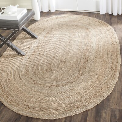 Chatham Hand-Woven Wool Light Tan Area Rug Rug Size: Oval 3 x 5