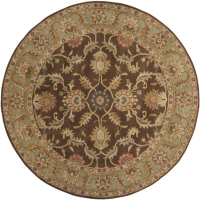 Waterston Chocolate/Sage Floral Area Rug Rug Size: Round 6