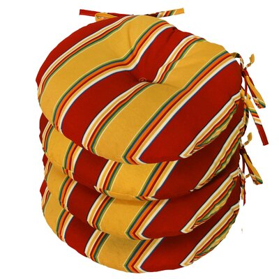 Outdoor Round Bistro Dining Chair Cushion Fabric: Carnival