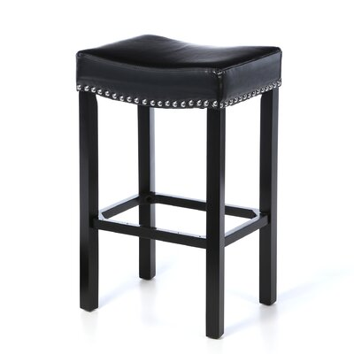Springfield 26 inch Bar Stool with Cushion Upholstery: Black