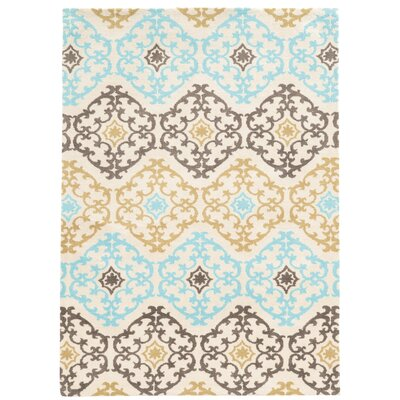 Sprottle Hand-Tufted Beige/Blue/Green Area Rug Rug Size: 5 x 7