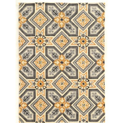 Mugge Hand-Tufted Gray/Gold Area Rug Rug Size: Rectangle 5 x 7