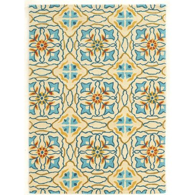 Mugge Hand-Tufted Blue/Beige/Orange Area Rug Rug Size: 5 x 7