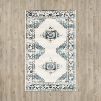 Baltimore Cream/Blue Area Rug Rug Size: 4 x 6