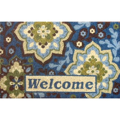 Acorn Grove Welcome Medallion Doormat Rug Size: Rectangle 110 x 3, Color: Bleached Blue