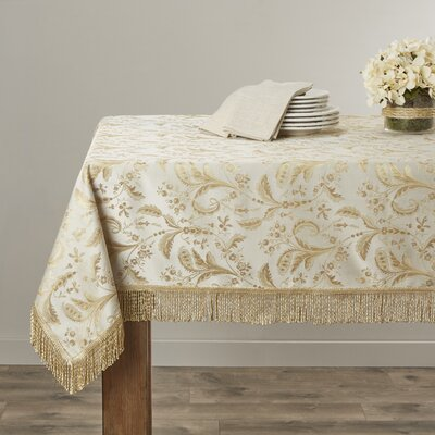 Rockport Damask Design Tablecloth Color: Beige, Size: 140