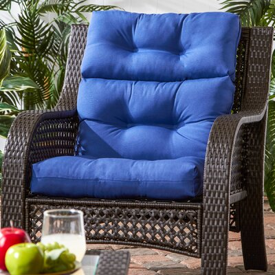 Outdoor High Back Chaise Lounge Cushion Fabric: Marine Blue