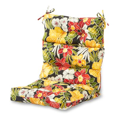 Outdoor High Back Chaise Lounge Cushion Fabric: Aloha Black