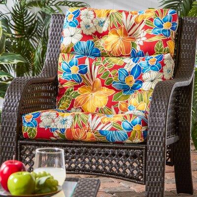 Outdoor High Back Chaise Lounge Cushion Fabric: Aloha Red