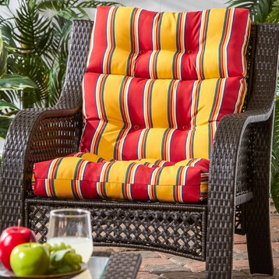 Outdoor High Back Chaise Lounge Cushion Fabric: Carnival Stripe