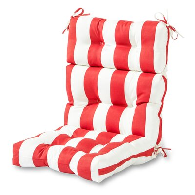 Outdoor High Back Chaise Lounge Cushion Fabric: Cabana Red