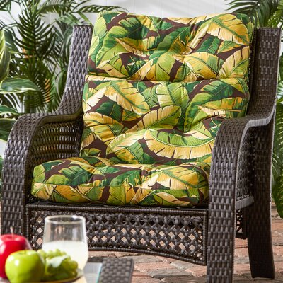Outdoor High Back Chaise Lounge Cushion Fabric: Palm Green