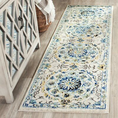Pike Ivory/Blue Area Rug Rug Size: Runner 22 x 7