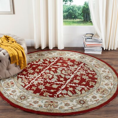 Driffield Hand-Hooked Red / Ivory Area Rug Rug Size: Round 6