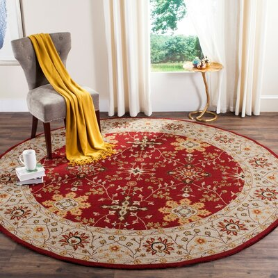 Driffield Hand-Hooked Red / Ivory Area Rug Rug Size: Round 8 x 8