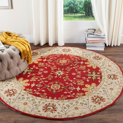 Driffield Hand-Hooked Red / Ivory Area Rug Rug Size: Rectangle 3 x 5