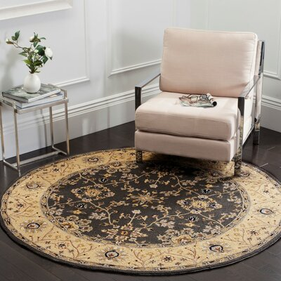 Driffield Hand-Hooked Grey / Cream Area Rug Rug Size: 4 x 6